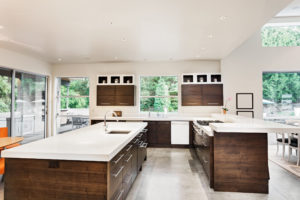 Kitchen made with quartz counters