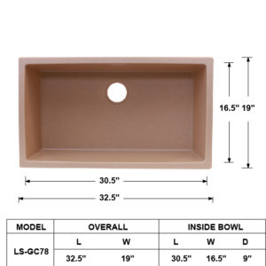 Single Bowl Granite Composite Sink Bisque