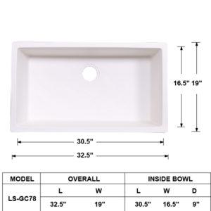 Single Bowl Granite Composite Sink White